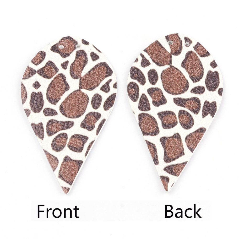 GIRAFFE PRINT Faux Leather Leaf Shape 4 Pairs, 2.25 Inch, Double Sided, Tear Drops for Earring Making, C021
