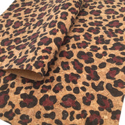 MAROON LEOPARD PRINT Cork Fabric Sheet, Thin Cork Fabric .60mm, Cork Sheet, Cork Fabric, Full Sheet- 766B