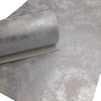 SILVER Oil Slick Faux Leather, PU Leather Sheets, Fabric Sheets, Leather for Earrings, 132B