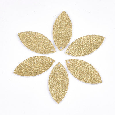"GOLD Faux Leather Petal Cut Outs 4 Pairs, 1.5"" Inch, Pre-Cut Shapes for Earrings, Leather Earring Cutouts"
