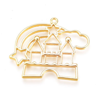 2 Gold Plated Kawaii Princess Castle Open Bezel Pendant, Resin Charms, Resin Bezels, Alloy Open Back Bezel Pendants, DIY UV Resin - C218