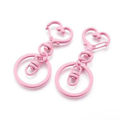 2 Pink Swivel Lobster Clasp Keychain, Iron Heart Key Clasps, Keycahin Findings, Lead Free & Nickel Free - C085