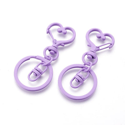 2 Lilac Swivel Lobster Clasp Keychain, Iron Heart Key Clasps, Keycahin Findings, Lead Free & Nickel Free - C083