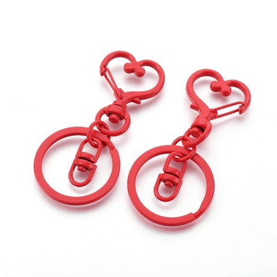 2 Red Swivel Lobster Clasp Keychain, Iron Heart Key Clasps, Keycahin Findings, Lead Free & Nickel Free - C084