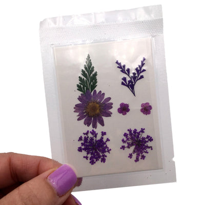 Small Purple Pressed Dry Flowers, Dried Flat Flower Packs, Pressed Flowers For Resin Crafts