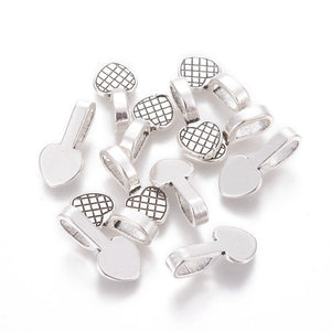10 Antique Silver Plated Heart Pendant Bails, Glue-On Bails for Pendants - C092