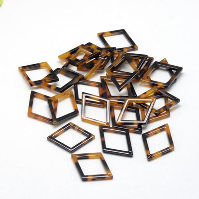 4 pcs Tortoise Shell Acetate Pendant Charm, Resin Pendant, 21x15mm, 4 Pieces per Order