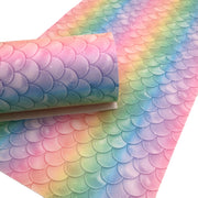 PASTEL MERMAID SCALES Smooth Faux Leather Sheets, Leather Sheets, Exclusive Design, Leather for Earrings - 1303