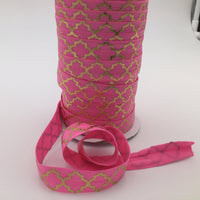 "PINK Elastic, Metallic Fold Over Elastic, 5 Yards, 5/8"" Inch Elastic Ribbon, FOE Elastic, Elastic for Hair Ties"