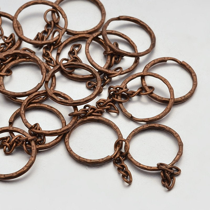 20 ANTIQUE BRONZE Keychain Ring with Chain, Iron Key Clasps, Keycahin Findings, Lead Free & Nickel Free