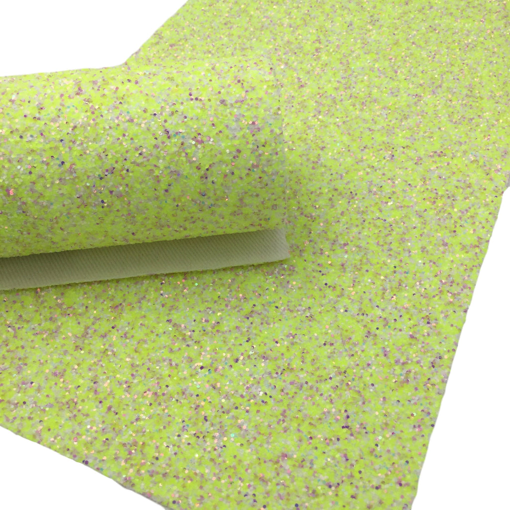 NEON Yellow Chunky Glitter Canvas Sheets, Yellow with White Speckles, Premium Chunky Glitter Fabric, Fabric for Bows - 1079