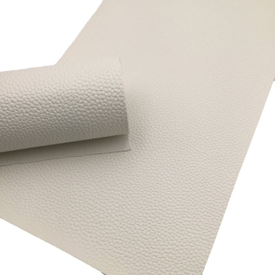 OFF WHITE Faux Leather Sheet, Leather Fabric Sheets, PU Leather Litchi Texture