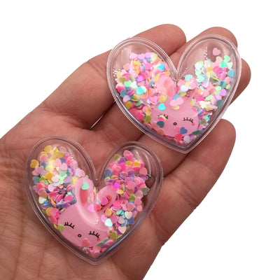 PINK BUNNY Confetti Filled Shaker Hearts Set of 2 - #2812