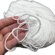 "White Nylon Elastic for Mask, 1/8"" Round Nylon Elastic, Mouth Cover Elastic Cord, DIY Mouth Cover Material, White, 1/8"", 3mm Thick"