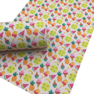 SUMMER FRUITS Faux Leather Sheets, Leather Sheets, PVC Faux Leather, Leather for Earrings - 1608