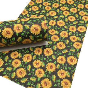 SUNFLOWER Faux Leather Sheets, Leather Sheets, PVC Faux Leather, Leather for Earrings - 0354