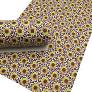 LEOPARD SUNFLOWER Faux Leather Sheets, Leather Sheets, PVC Faux Leather, Leather for Earrings - 0355