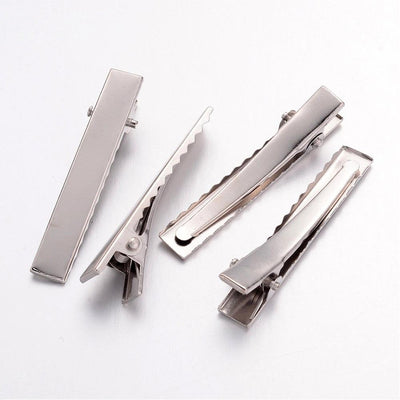 "SILVER Alligator Clip With Teeth  1.75"" Inch Set of 20"
