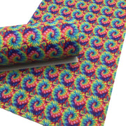 TIE DYE SWIRLS Faux Leather Sheets, Pvc Faux leather, Leather for Earrings and Hair bows - 1634