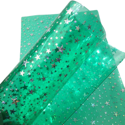 STAR JELLY SHEETS - Teal Green Jelly Material, Waterproof Jelly Sheets for Hair Bows - 767