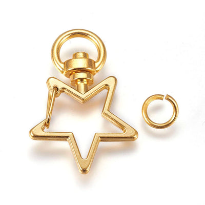 5 Gold Plated Star Clasp Key Chain Ring