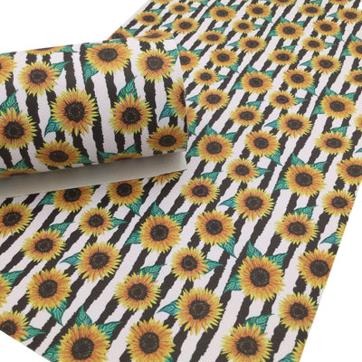 SUNFLOWER STRIPE Faux Leather Sheets, Leather Sheets, PVC Faux Leather, Leather for Earrings