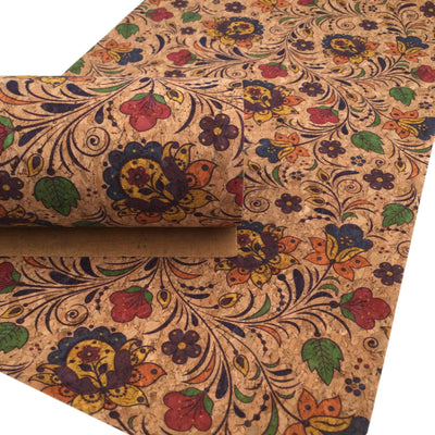 FLORAL Cork Fabric Sheet, Thin Cork Fabric .60mm, Cork Sheet, Cork Fabric, Full Sheet - 1046