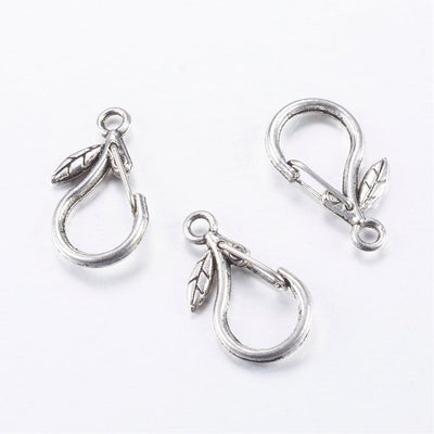 10pcs Tibetan Style Alloy Keychain Clasp Findings, Drop, Cadmium Free and Nickel Free & Lead Free, Antique Silver