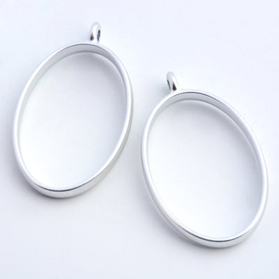 2 Matte Silver Oval Open Back Bezel Pendant, Resin Charms, Resin Bezels, Alloy Open Back Bezel Pendants, DIY UV Resin - C209