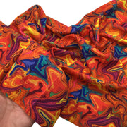 ORANGE OIL SLICK Liverpool Fabric Half Yard or Full Yard, 4 Way Stretch Fabric, Bullet Fabric, Liverpool Fabric for Bows