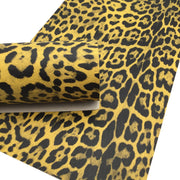 MUSTARD LEOPARD Print Faux Leather Sheet, Textured Faux Leather, Leopard PVC Leather