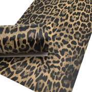 TAUPE LEOPARD Print Faux Leather Sheet, Textured Faux Leather, Leopard PVC Leather