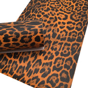 ORANGE LEOPARD Print Faux Leather Sheet, Textured Faux Leather, Leopard PVC Leather