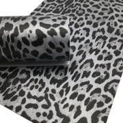 SILVER LEOPARD Print Faux Leather Sheet, Textured Faux Leather, Leopard PVC Leather