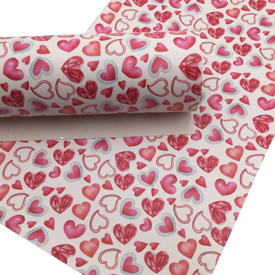 GEM HEARTS Smooth Faux Leather Sheets, Leather Sheets, Valentines Day, Exclusive Design, Leather for Earrings - 1564