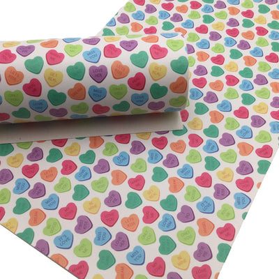 CONVERSATION HEARTS Smooth Faux Leather Sheets, Leather Sheets, Valentines Day, Exclusive Design, Leather for Earrings