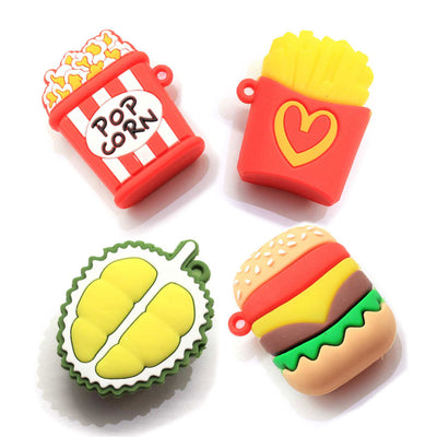 4 LARGE Food Charm Cabochons, Hamburger, Fries, Durian and Pop Corn Kawaii Charms, Cute Cabochon