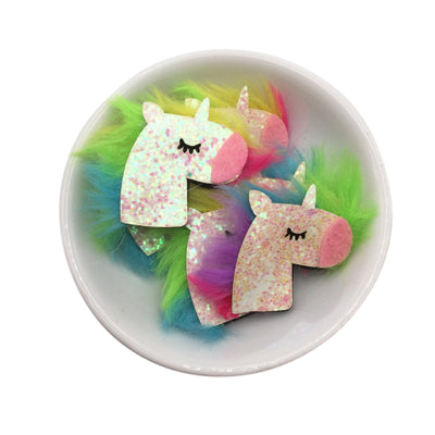 UNICORN Chunky Glitter Non-Woven Felt Applique Set of 2
