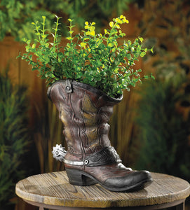 SPURRED COWBOY BOOT PLANTER