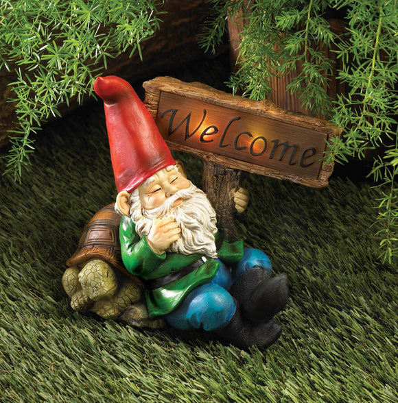 NAPPING WELCOME GNOME SOLAR STATUE