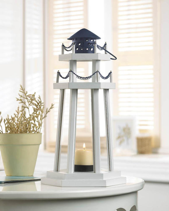 CLASSIC LIGHTHOUSE WOODEN LANTERN