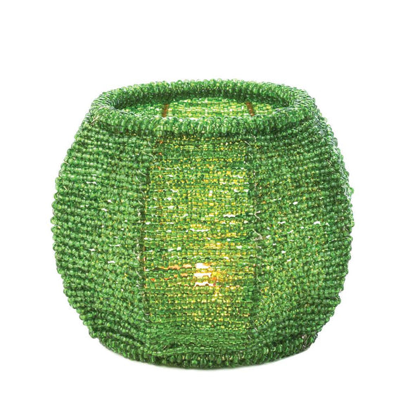 EMERALD GREEN BEADED CANDLE HOLDER