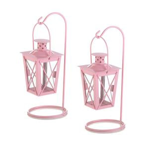 Pink Iron Railroad Hanging Lantern Pair