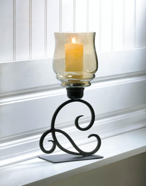 IRIDESCENT GLASS HURRICANE LANTERN