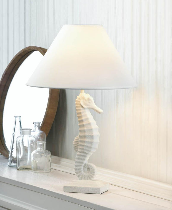 WHITE SEAHORSE TABLE LAMP