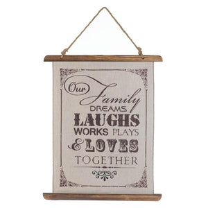 FAMILY LAUGHS LINEN WALL ART