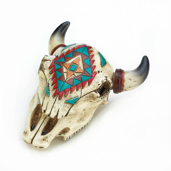 AZTEC OX SKULL TRINKET BOX