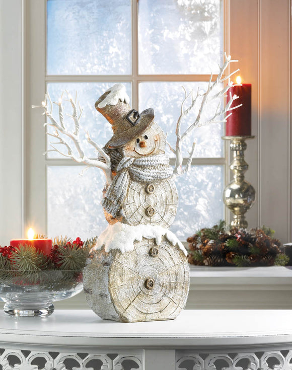 SNOWMAN STATUE WITH TWIG LIGHTS