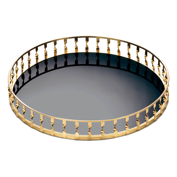 GOLD TWIST MIRRORED TRAY