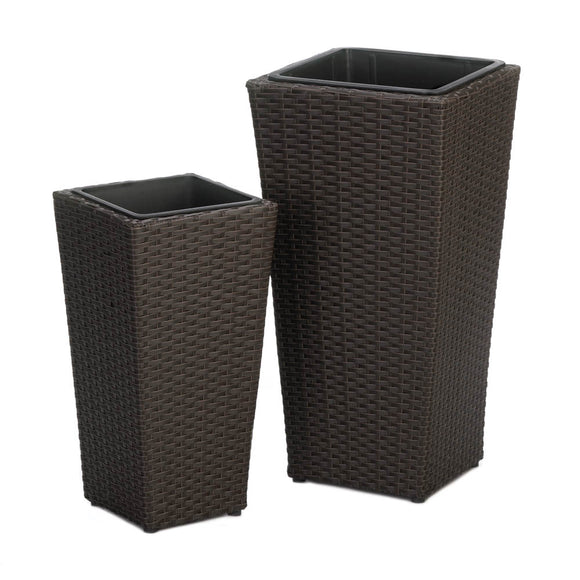 TUSCANY WICKER TALL PLANTERS